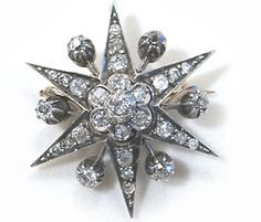 Victorian Diamond Star Pendant Brooch.