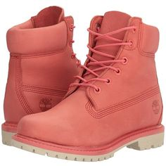 Timberland 6 Premium Boot (Dark Pink Full Grain) Women's Lace-up Boots ($170) ❤ liked on Polyvore featuring shoes, boots, ankle boots, short boots, waterproof boots, low-heel boots, laced up ankle boots and wide width boots
