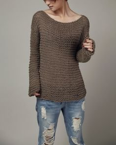 Simple is the best Hand knitted woman sweater Eco by MaxMelody