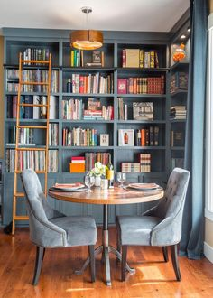 Beautiful Blue Home Library Nook Was Once a Disused Corner | Harmony Weihs | HGTV #breakfast nook ideas