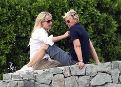 Ellen DeGeneres and Portia de Rossi lounged while vacationing in France in December Ellen Degeneress, The Ellen Show, Ellen Degeneres And Portia, Ellen And Portia, Portia De Rossi, Androgynous Fashion, My People, Princess Diana, Role Models