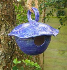 Bird house, nesting box or feeder in stoneware--fully weatherproof.