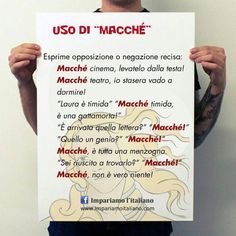 """In italiano si usa la parolina """"macché"""" per esprimere una negazione recisa o una forte opposizione.  www.impariamoitaliano.com"""
