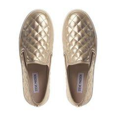STEVE MADDEN ECENTRICQ SM - Quilted Slip On Shoe - gold | Dune Shoes Online
