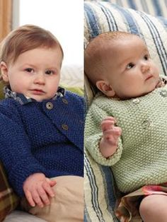 Knit this cute moss stitch cardigan with an overlapped front fastening in the gorgeous new yarn baby merino silk DK, for either a little boy or girl. Designed by Lisa Richardson.