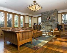 Oak Trim, stone fire place