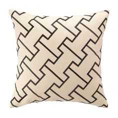 Bring an eye-catching pop of pattern to your living room or master suite with this embroidered linen pillow, showcasing a geometric motif and feather-down fi...