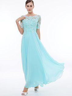 Amazon.com: Sisjuly Women's Beaded Short Sleeves Lace Appliques Chiffon Long Prom Dress: Clothing