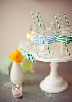 bow themed summer party; love the little bows on the mason jars