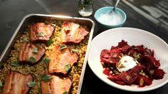 Další z řady receptů od Karolíny Kamberské. Tentokrát připravila šoulet – tradiční pokrm z hrachu a krup, k němu uzený bůček a lehký salátek z červené řepy.