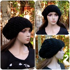Knitted Oversized Swirl Beanie by JKnitsBoutique, $34.99 Keep your head warm with this adorable oversized beanie! This is hand knitted with a super chunky wool blend yarn, in a smoke free home. Simple with a subtle swirl pattern that goes great with anything! #etsy #knitting #wool #beanie #hat