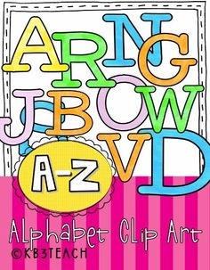 ALPHABET CLIP ART: Use these colorful block letters to make posters, worksheets, schedule cards, and labels for your classroom. (PNG images; Uppercase and Lowercase A-Z)