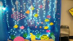 Our Great Barrier Reef.Christmas lights, blue plastic tablecloths and lots of fish and coral Plastic Tablecloth, Tablecloths, Great Barrier Reef, Church Ideas, Christmas Lights, Coral, Fish, Rock, Blue