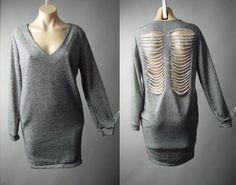 Gray Cyber Punk Goth Edgy Shredded Skeleton Slash Back Tunic 160 mv Dress S M #Other #Tunic #Casual
