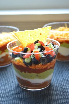 Individual seven layer dip.  Helps with portion control!