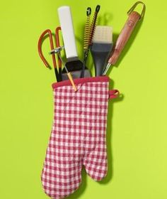 Oven Mitt as BBQ Utensil Holder | New roles for items that can help you get dinner on the table.