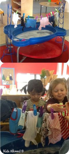 Similar idea- bur use line outside & water table with pegs for fine motor skills, wringing out washing & pegging.