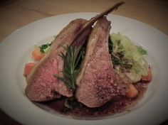 Rack Of Cotswold Lamb, Parsnip Mash, Sautéed Cabbage, Roasted Carrots with a Port & Rosemary Jus