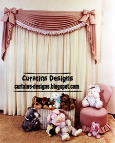 pink vyunch curtain style - unique girls bedroom curtain design ideas