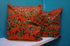 Blowing Poppies Print Cushion