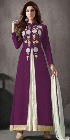 Ostentatious Purple Silk Anarkali Suit With Dupatta.