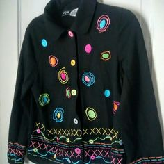 Cotton Black Blazer Jacket M Size M Oncue black w/ beautiful colored designs blazer/ jacket. Casual. 100% cotton- made in India. Well made! Oncue Jackets & Coats Blazers