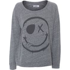 LAUREN MOSHI Brenna Heather Grey // Heathered longsleeve with smiley (€89) ❤ liked on Polyvore featuring tops, shirts, sweaters, long sleeves, shirt top, long sleeve raglan shirt, patterned tops, raglan sleeve shirts and long sleeve tops