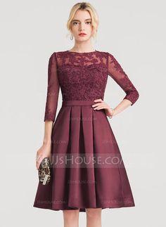 [US$ 134.49] A-Line/Princess Scoop Neck Knee-Length Satin Cocktail Dress