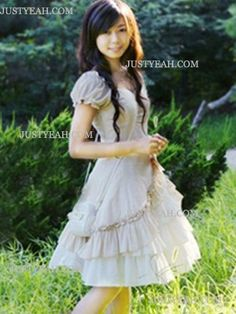 Beautiful ivory cotton satin womens lolita dress