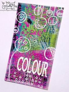 Cardboard decorated with gelli plate, dylusion paint, paperartsy stamps, wow embossing powder | A Lazy Scrapper