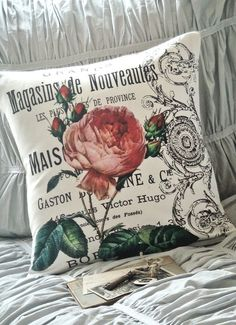 Cotton and Burlap Pillow Coverthe Maison rose by JolieMarche, $35.00