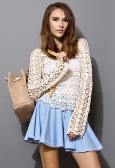 Full Floral Crochet Long Sleeves Crop Top