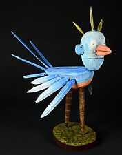 "BirdMan by Bruce Chapin (Wood Sculpture) (18"" x 9"")"