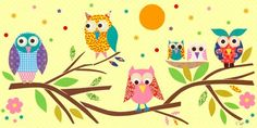 """Owls on Branch"" wall decor for kids by Rachel Taylor for Oopsy daisy, Fine Art for Kids $149"