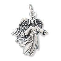Antique Solid 925 Sterling Silver FLYING ANGEL HALO CHARM PENDANT B/'Day Gift Box