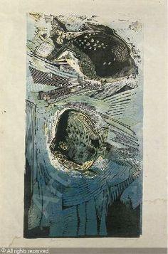 Gertrude Hermes (1901 -1963).   Aquarium, 1937, Linocut, in col., N. 21 / 50