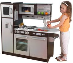 KidKraft Uptown Espresso Kitchen - $144, perfect for girls AND boys, ages 2-6. My older 3 boys all wanted a play kitchen. Now my youngest LOVES pretending to be a chef. He walks around taking orders from everyone in the house then heads to his kitchen to put the food together. He plays with it more than his younger sister does, although I think she'll use it more as she gets a bit older too.""