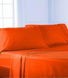orange Twin Sheet Set Egyptian Cotton 1000-Thread Count Queen Bed Sheets, Twin Bed Sheets, Twin Xl Bedding, Twin Sheet Sets, Cotton Sheet Sets, Egyptian Cotton Bedding, Orange Things, Luxury, Full Bed