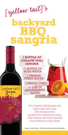 Backyard BBQ [yellow tail] sangria #sangria #party (for engagement party)