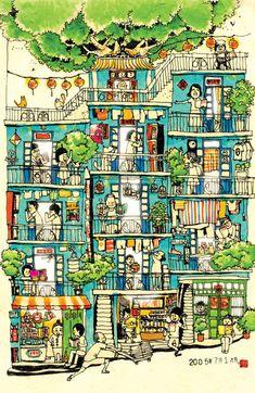 kowloon city illustration - Google Search