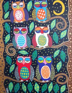 Kerri Ambrosino Mexican Folk Art NEEDLEPOINT Starry Night Owl Friends Trees on Etsy, $22.99