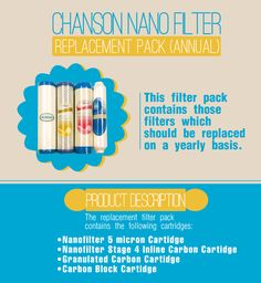 Chanson Nano Filter Replacement Pack (Annual) http://www.ionizeroasis.com/chanson-nano-filter-replacement-pack-annual.html