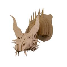 Nikita Cardboard Dragon Head Large Brown by CardboardSafari Cardboard Deer Heads, Cardboard Animals, Game Of Thrones Party, Laser Cutter Projects, Got Party, Dragon Head, Animal Heads, Paper Models, 5 D