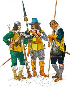 """""""New Model Army, 1645-60""""  • Musketeer, Earl of Manchester's Rgt., pre-1645  • Infantry officer, Thomas Ballard's Rgt., pre-1645  • Pikeman, Lord Saye and Sele's Rgt., pre-1645"""