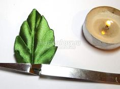 how to make a veined leaf using synthetic satin ribbon