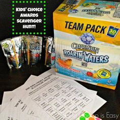 2015 Kids' Choice Awards Scavenger Hunt, plus snacks for your Capri Sun Roaring Waters! #ad #Cbias #KidsChoiceDrink