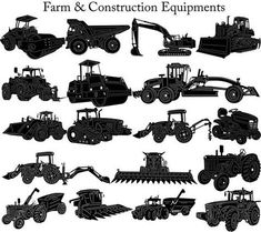 Heavy Duty Construction and Agricultural Machinery - DXF files Cut Ready CNC Designs - DXFforCNC.com, It is magic elements of your garden and home decor. These files contain collection of 18 Heavy Duty construction and agricultural machinery such as tractor, combine, seeder, grain trailers, excavator, bulldozer, truck lifting and compactor illustrated in decorative view and delivered in dxf files cut ready cnc designs.
