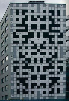 Giant crossword in Lviv. Clues found throughout city.