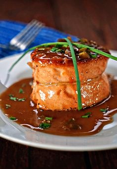 Pan Seared Salmon Fillet with Apricot Jalapeno Butter Sauce - a quick dinner to make, fresh fish is always a good go-to for me. The salmon fillets are tied and the sauce is made with butter, balsamic vinegar, fruit preserves and chopped jalapenos.