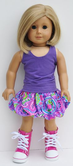 American Girl Clothes  Purple Tank with by LoriLizGirlsandDolls, $26.00